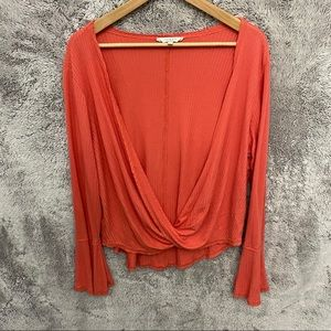 Lucky Brand Coral Plunge Blouse